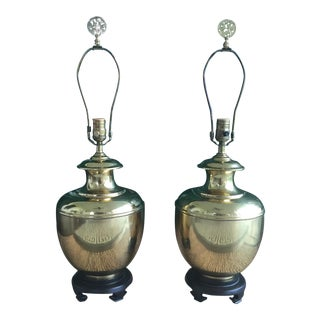 Vintage Hollywood Regency Chinoiserie Brass Ginger Jar Table Lamps - a Pair