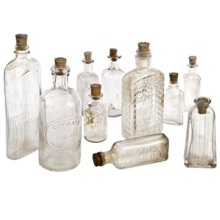 Vintage Clear Glass Bottle Collection - Set of 10