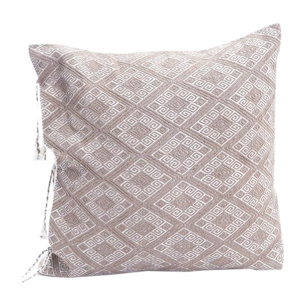Image of Ecru Diamonds Handwoven Pillow