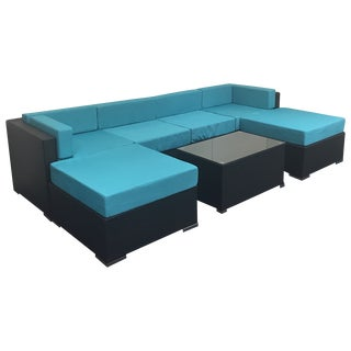 Turquoise Wicker Patio Set