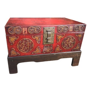 Antique Chinese Pig Skin Trunk On Stand