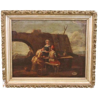 Antique French School Landscape Painting