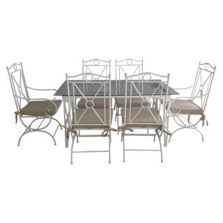 Handmade White Wrought Iron Patio Dining Set