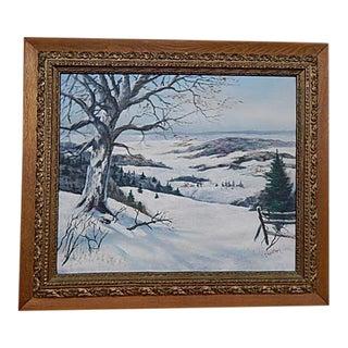 Antique Oak Framed Snow Scene Painting