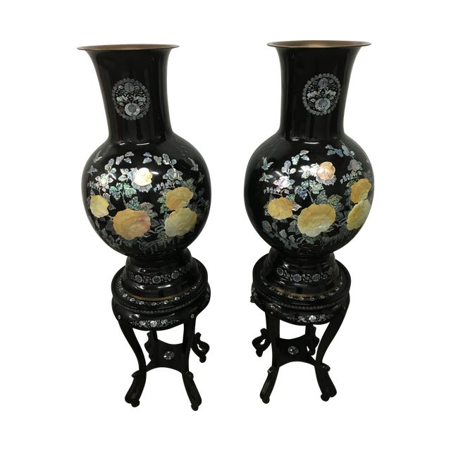 Asian Mother of Pearl Vases on Stands - A Pair - Image 1 of 11