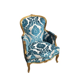 Victorian Gold Leaf & Velvet Chair