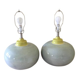 Gillespie Art Deco Bulbous Ceramic Table Lamps- A Pair