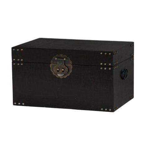Asian Chinoiserie Black Traveler Trunk - Image 1 of 4