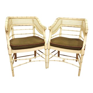 Curved Back Bamboo Chairs - A Pair