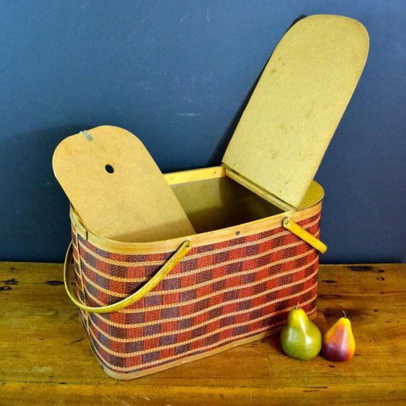 Vintage Picnic Basket & Dinnerware - Image 5 of 8