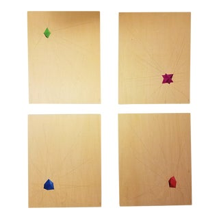Geometric Abstracts on Birch Wood, Set of 4