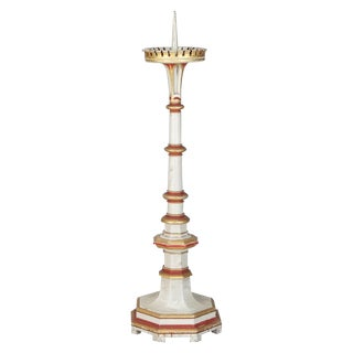19th Century White & Red Gilded Pricket Stick