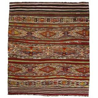 Vintage Sofreh Flatweave Turkish Kilim Rug - 3′1″ × 3′7″