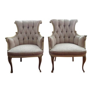 Italian Regency Pink Tufted Scrollback Bergère Chairs - a Pair