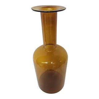 Large Otto Brauer for Holmegaard Mid-Century Glass Bottle Vase