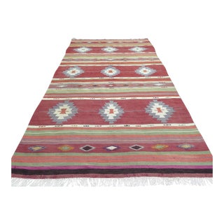 "Vintage Turkish Kilim Area Rug - 5'9"" x 10'11"""