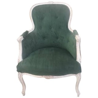 Green Velvet French Bergere Armchair