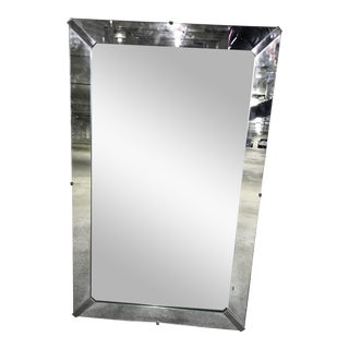 Vintage Mid-Century Large Beveled Mirror With Steel Corners