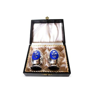 Danish Sterling Enamel Salt & Pepper Set - Pair