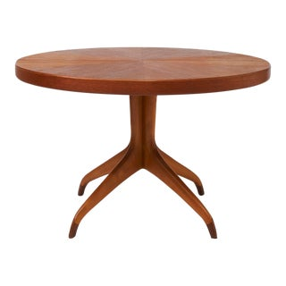 Round Teak Dining Table on Clawed Feet by David Rosén