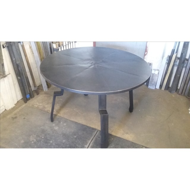 Image of Black Round Steel Distortion Dining Table