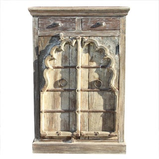 Whitewashed Arched Door Cabinet