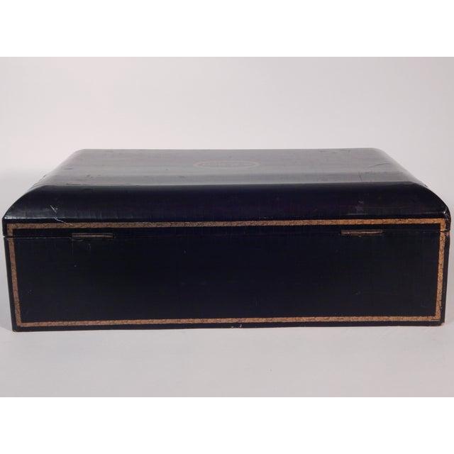 Image of Antique 19th Century Black Lacquered Box
