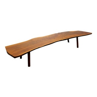 Mid-Century Danish Modern George Nakashima Style Walnut Slab Coffee Table