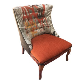 Mid Century Reupholstered Orange Wingback Chair
