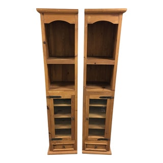 Pine Bookshelves with Display Cabinets - A Pair