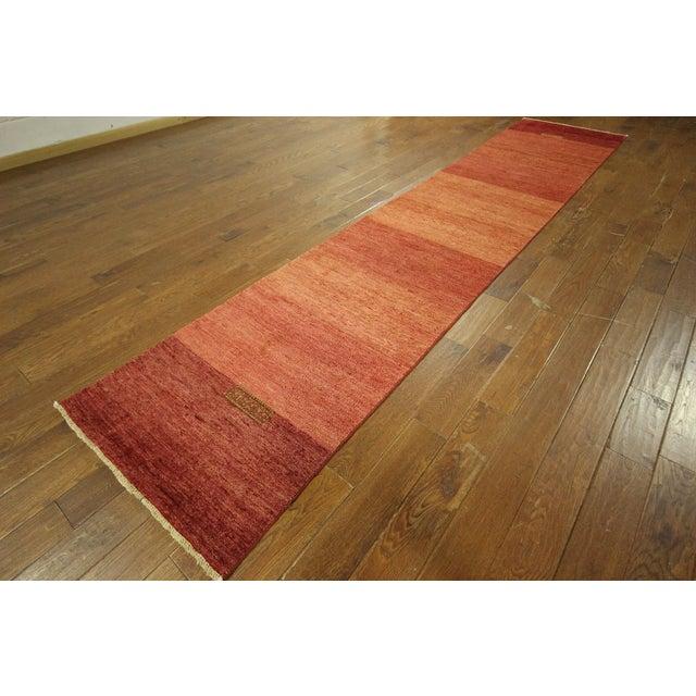 "Orange Striped Gabbeh Runner Rug - 2'10"" x 13'9"" - Image 4 of 10"