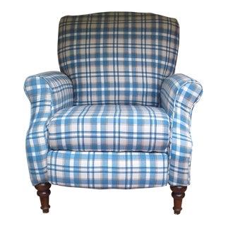 Vintage Blue Plaid Recliner Chair