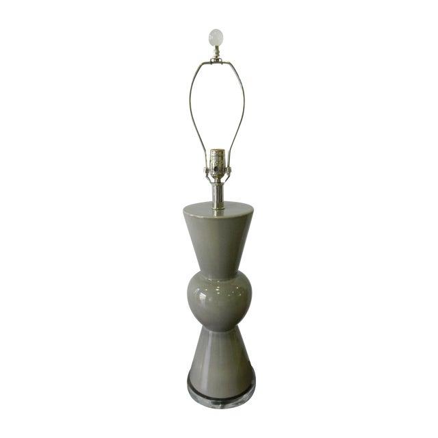 Modern Gray Porcelain Table Lamp on Acrylic Base - Image 1 of 7