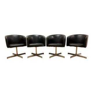 Mid-Century Modern Jansko Black Swivel Club Pod Chairs - Set of 4