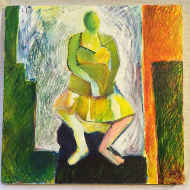 """1984 """"Girl in a Dress"""" Cubist Painting - Image 1 of 7"""