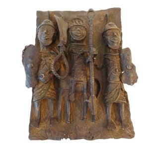 Edo Benin Bronze Brass Plaque King with Warriors Nigeria