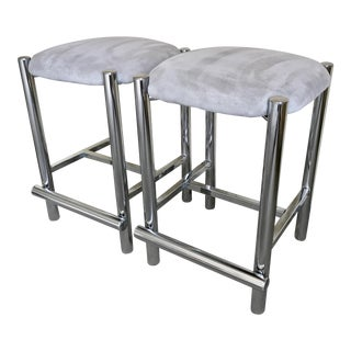 Baughman Style Chrome Tubular Counter Stools - A Pair