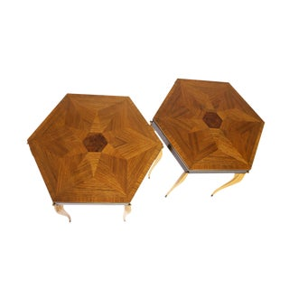 Pair of 1940's Swedish Side Tables with Inlaid Rosewood Parquet Top