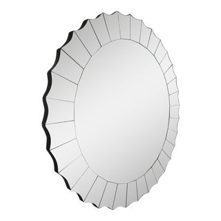"Round Antiqued Sunburst Style ""Moon Mirror"""