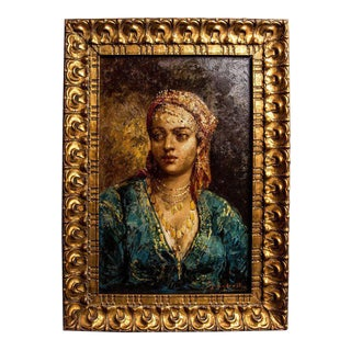 Portrait of Berber Girl Original Gilt Frame circa 1900, Signed Frédéric Borgella