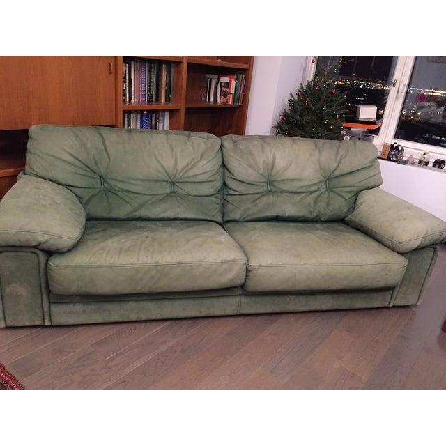Roche Bobois Green Leather Sofa - Image 2 of 7