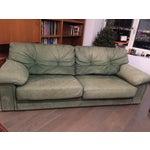 Image of Roche Bobois Green Leather Sofa
