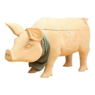 Oversized Vintage Carved Wooden Pig with Storage