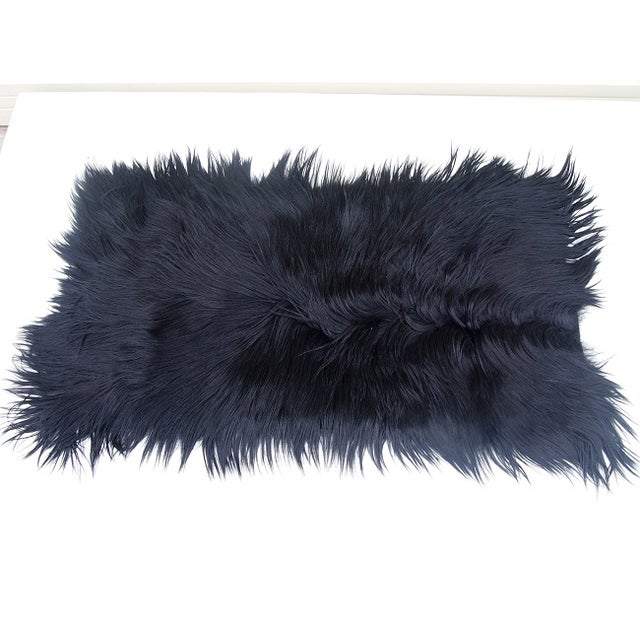 "Black Long-Haired Goat Skin Rug -- 2'1"" x 4' - Image 3 of 4"