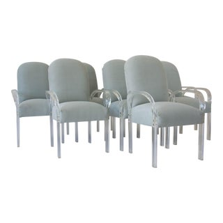 Vintage Lucite & Upholstered Dining Chairs - Set of 8