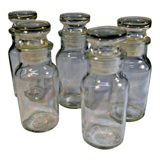 Clear Glass Apothecary Canisters - Set of 5