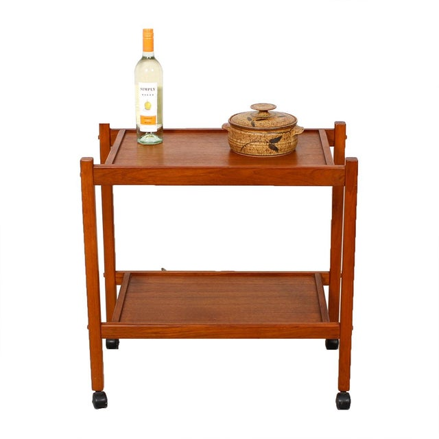 Compact Teak Bar/Serving Cart - Image 2 of 7