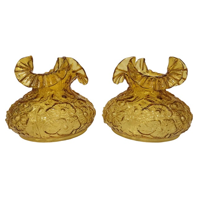 Fenton Amber Poppy Glass Lamp Shades- A Pair - Image 1 of 8