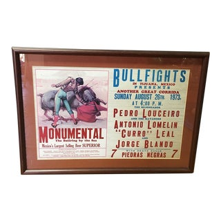 Framed Bull-Fighting Poster