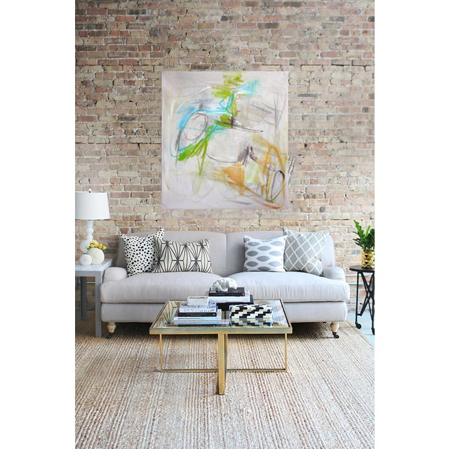 """Image of Trixie Pitts """"Georgian Bay"""" Large Abstract Minimalist Oil Painting"""